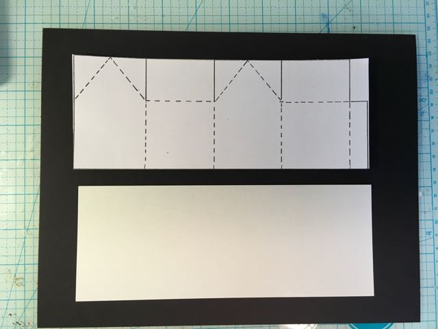 printable paper template cut to the same size as the cardboard for the miniature house