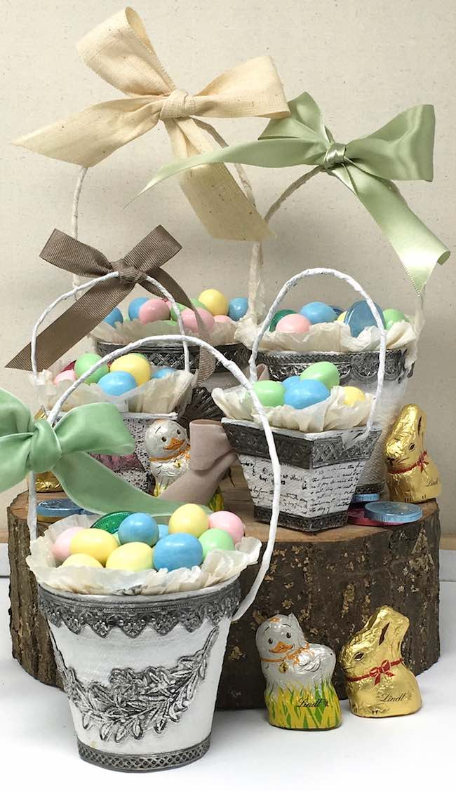 Peat pot Easter baskets filled with candy Tim Holtz Impresslits