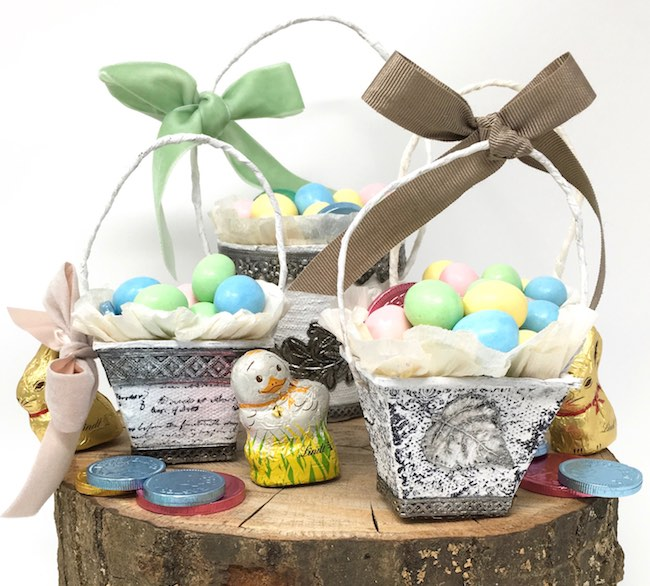 Peat pot baskets decorated for Easter