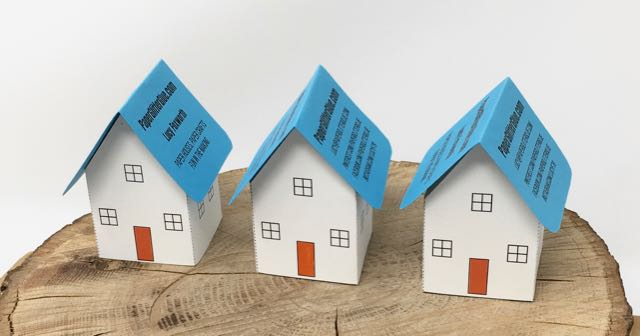 Paper pop-up house business card