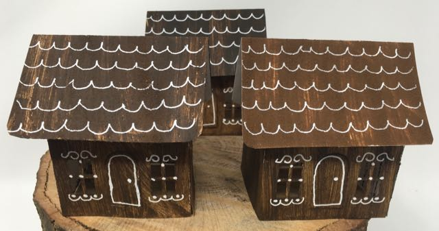 Pop-up houses for invitation to little putz house making craft party
