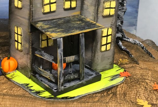 Porch supports on the Haunted Boarding House Halloween Paper house
