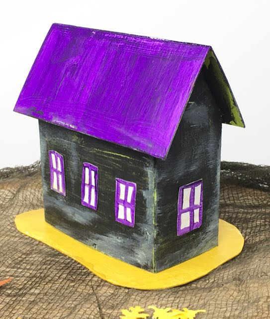 Purple roof Halloween Paper House No 2