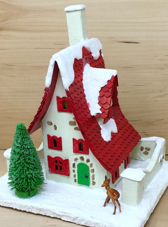 Red Roof Holiday Cottage paper house with deer and tree