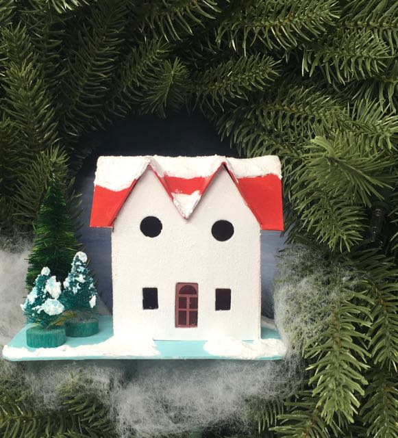 Red Roof Twin Gable Christmas Putz house in a wreath