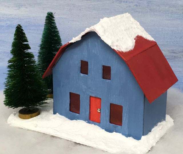 Red roofed Frosty Barn putz house with two bottlebrush trees to add to a Christmas village or to decorate a wreath