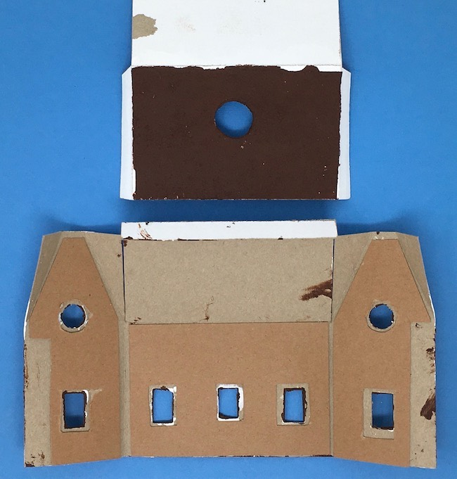 Reinforced cardboard on main piece of gingerbread paper house