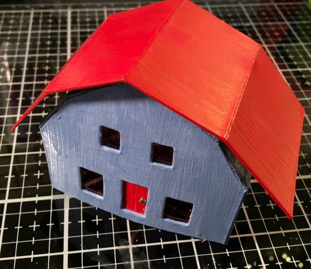 Repainted red roof for Frosty barn putz house