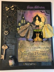 Halloween wall decor showing the two witches sharing recipes #halloween #papercraft
