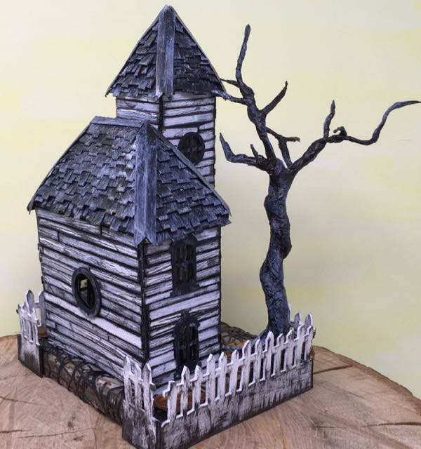 Haunted schoolhouse putz house back angle of hipped roof #putzhouse #papercraft #halloweendecor