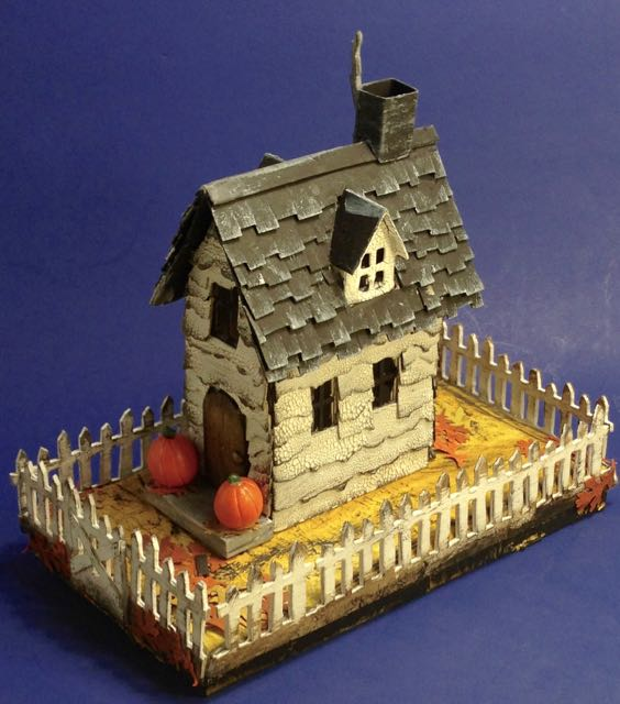Tim Holtz Halloween Village Brownstone view of paper house or Halloween putz house