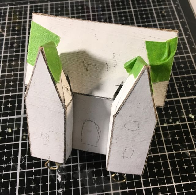 Roof piece test fit cardboard pieces for christmas putz house