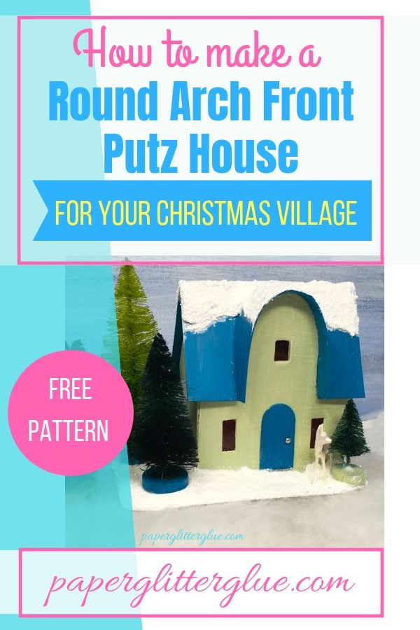 Christmas Putz House with an arched front gable and a glittered, snowy roof.