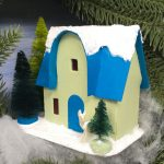 Rounded front arch Christmas Putz house no 7 in a wreath