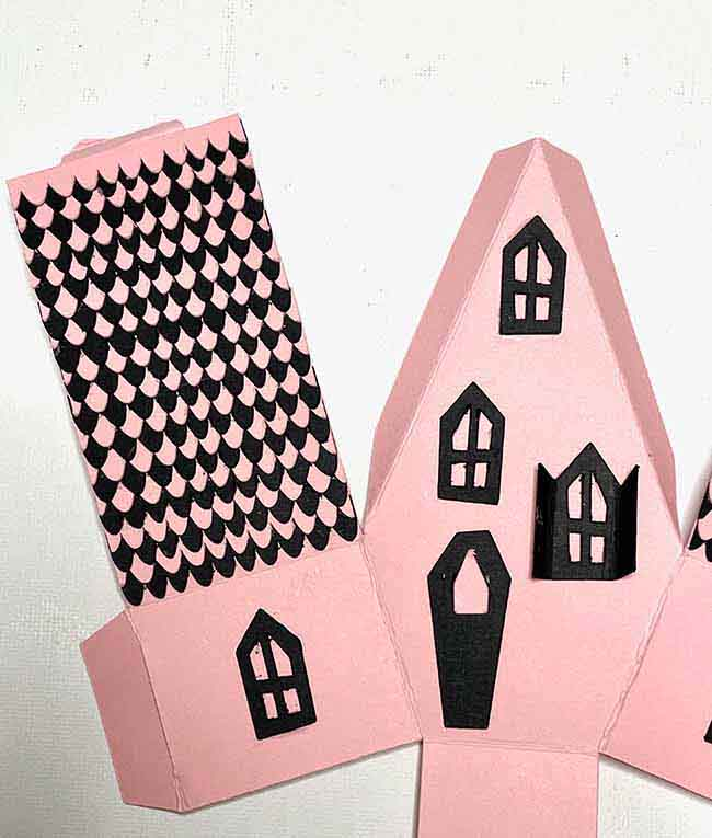 Rounded shingles for paper gothic house gift box