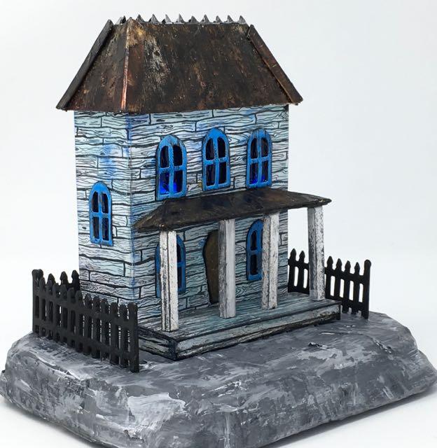 Rusted Roof Widow's Walk Halloween putz house