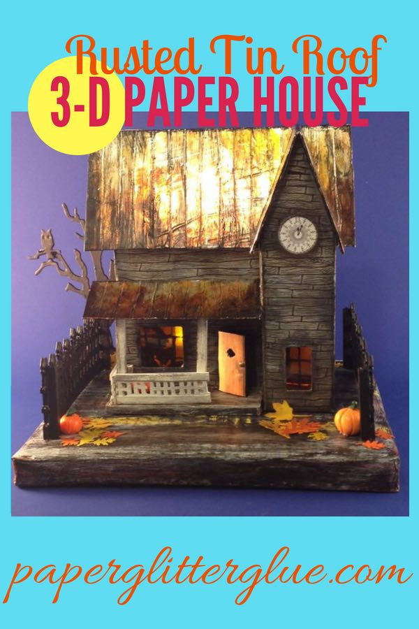 Rusted Tin Roof paper Halloween house