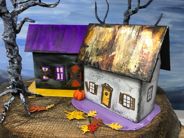 Rusted roof and purple roof Halloween house 2 with twisted trees