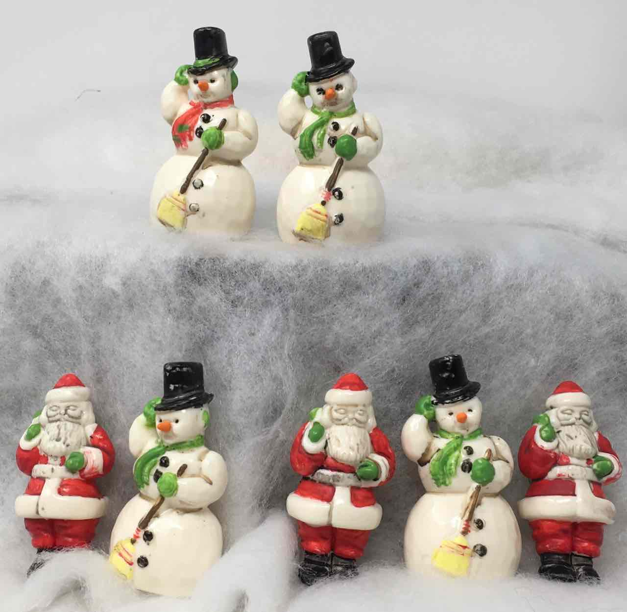 Painted Tim Holtz Salvaged Santa and Snowmen for Christmas wreath