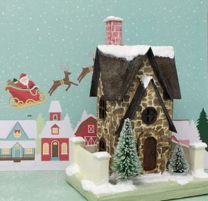 Christmas Farmhouse Putz house with a free paper house pattern to make your own little Christmas house #christmashouse #putzhouse #christmas #papercraft