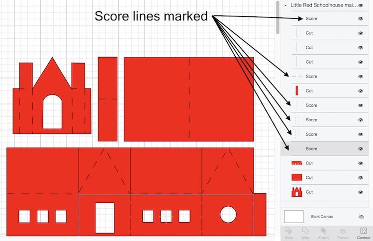 Score lines for paper house pattern of the Little Red Schoolhouse