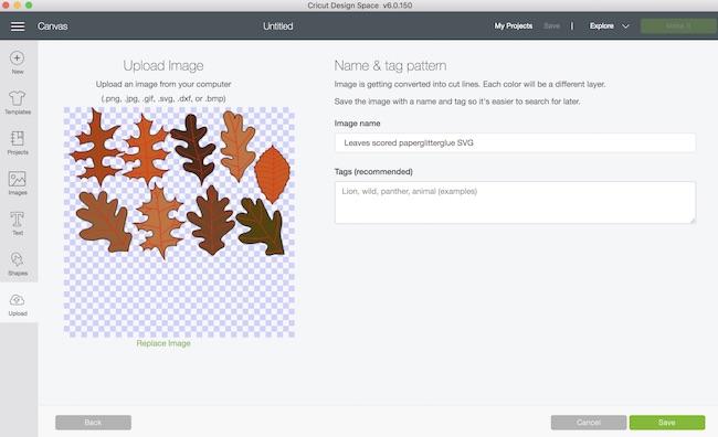 Scored leaf file in Cricut Design Space