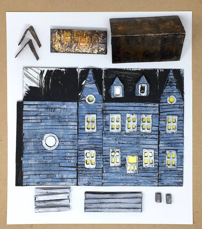 Sea Mist Sea-Worn Beach House Putz house paper and cardboard components