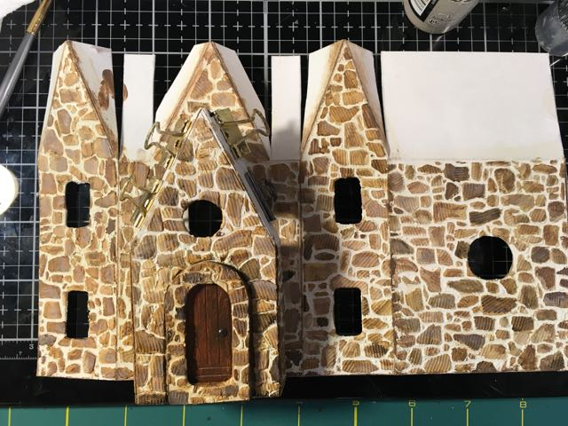 Stone shading on the Christmas Farmhouse Putz house #stonestencil #putzhouse #christmashouse #christmasvillage
