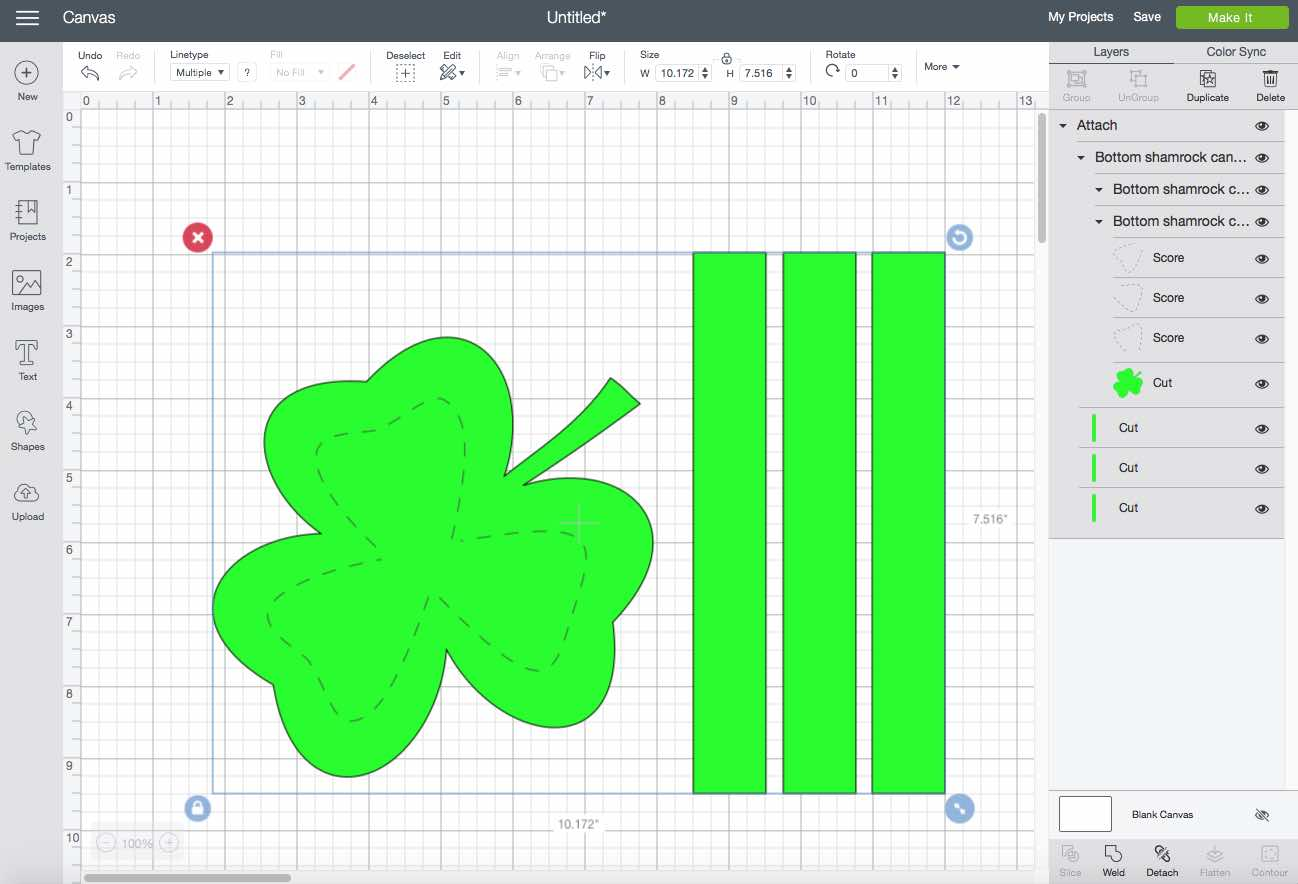 Shamrock candy box bottom on design space screen