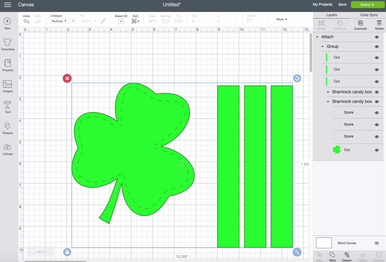 Shamrock candy box top on design space software