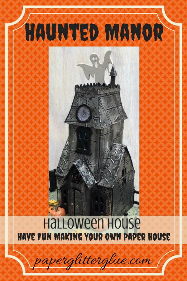 Metallic Village Manor Halloween Paper House