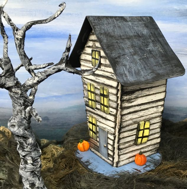 Side Crooked Halloween Paper House #halloweenhouse #halloweendiy