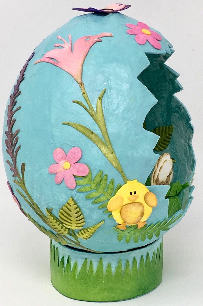 Side paper mache Easter egg decoupage chick Spring flower elements