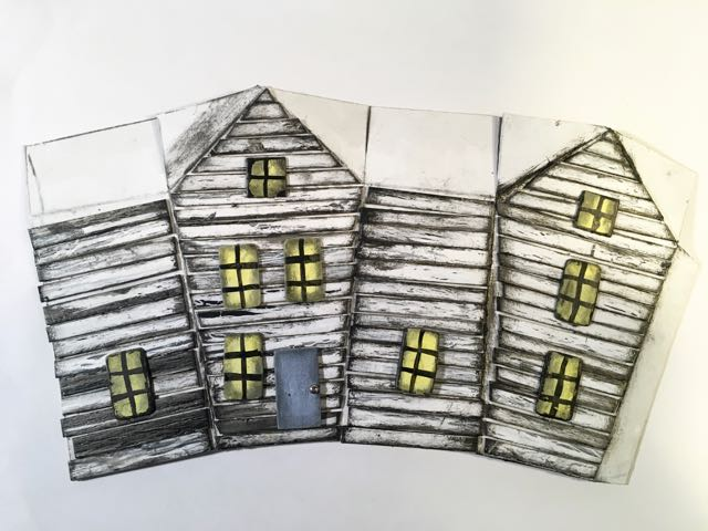 Siding and windows adhered to Crooked Halloween paper house