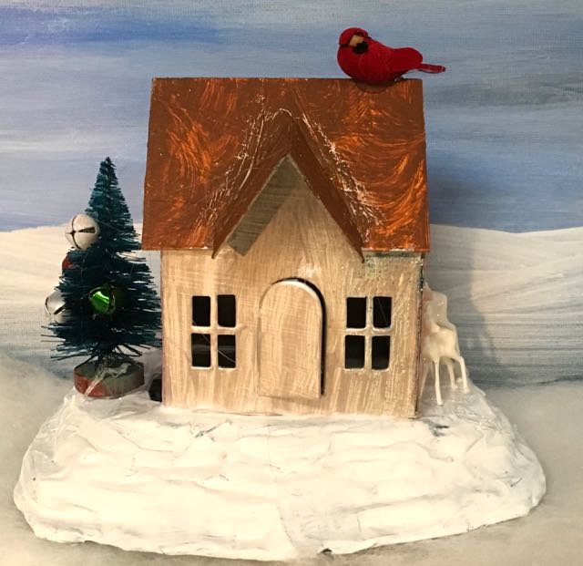 Simple Putz house with red bird deer and tree