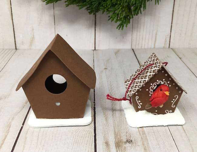 Size comparison of small birdhouse with tiny birdhouse