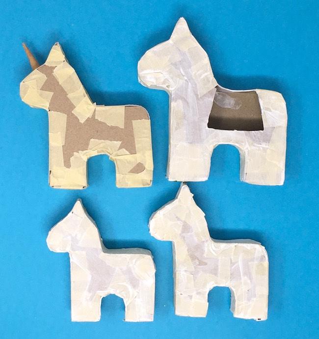 Size prototypes for mini unicorn pinata