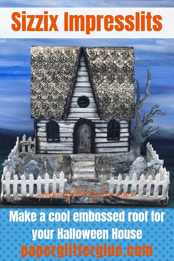 Make Dresden trims with Sizzix Impresslits on metallic tape. Here's an example on a Halloween house roof