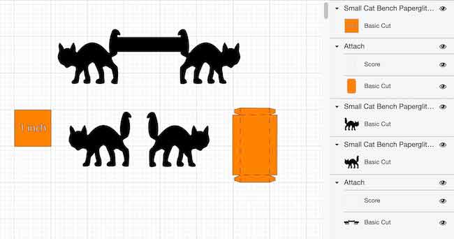 Small version of miniature cat bench pattern in Cricut's Design Space