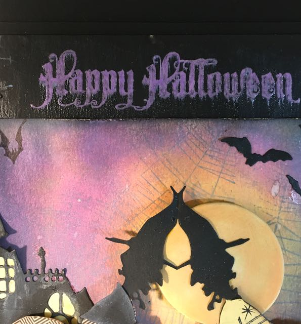 Creepy Happy Halloween embossed sentiment on the Return of the Two Witches wallhanging #halloween #wallhanging