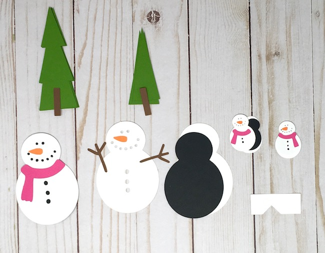 paper Snowman and trees for pop-up card