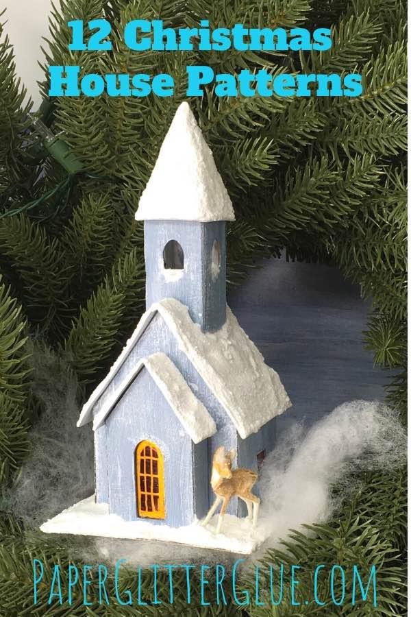 Snowy Church in Christmas wreath