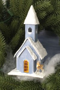 Snowy Church paper church for 12 Houses for Christmas