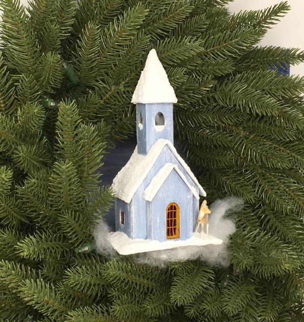 Snowy Church paper church putz house 12 Houses for Christmas