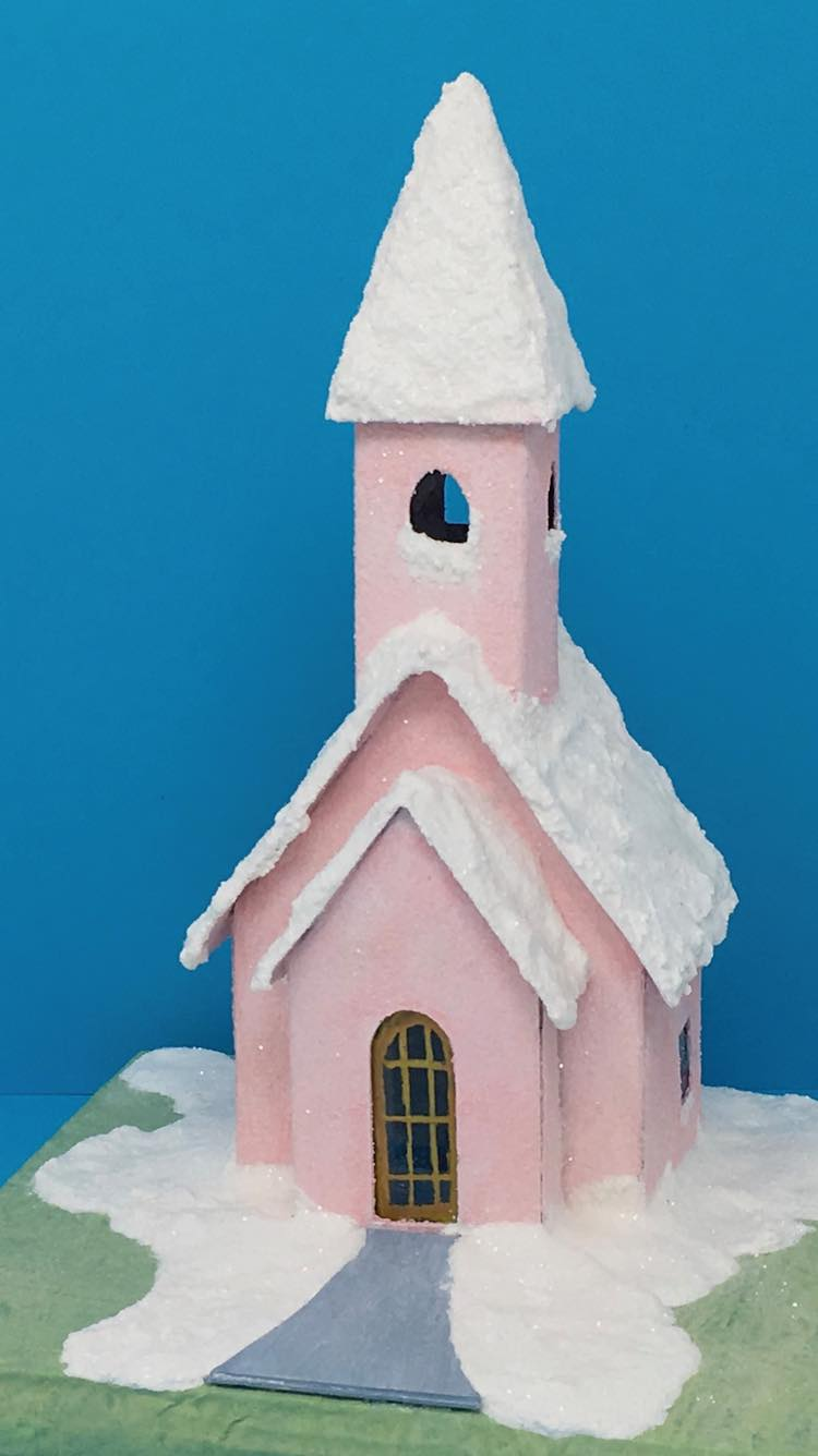 Snowy church paper house in pink