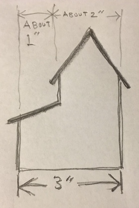 Inspiration drawing for the Split Level Christmas paper house