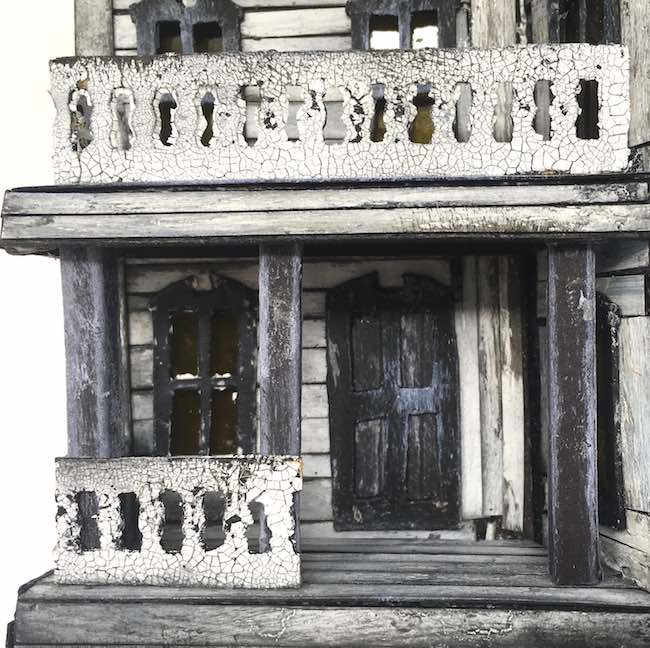 Spooky miniature Halloween house front view