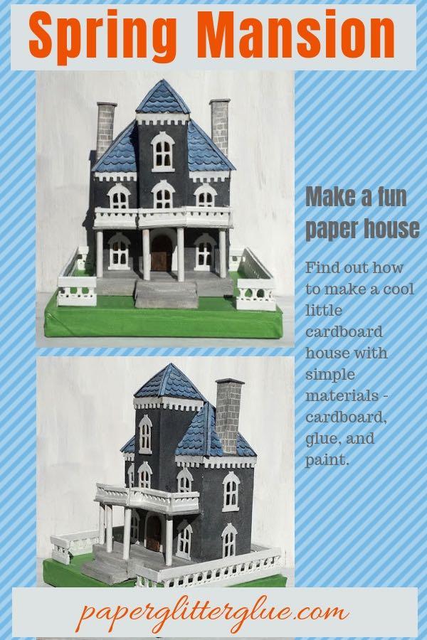 Spring Mansion Putz house #putzhouse #papercraft #glitterhouse