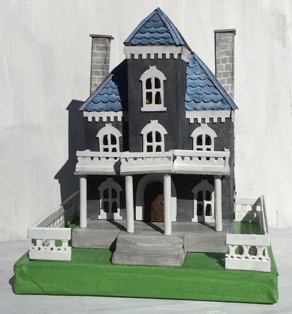 Spring Mansion Putz house dual chimneys #putzhouse #paperhouse