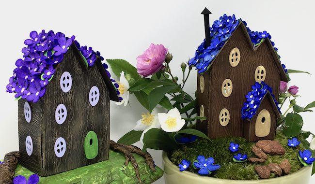 Spring blossom paper fairy houses